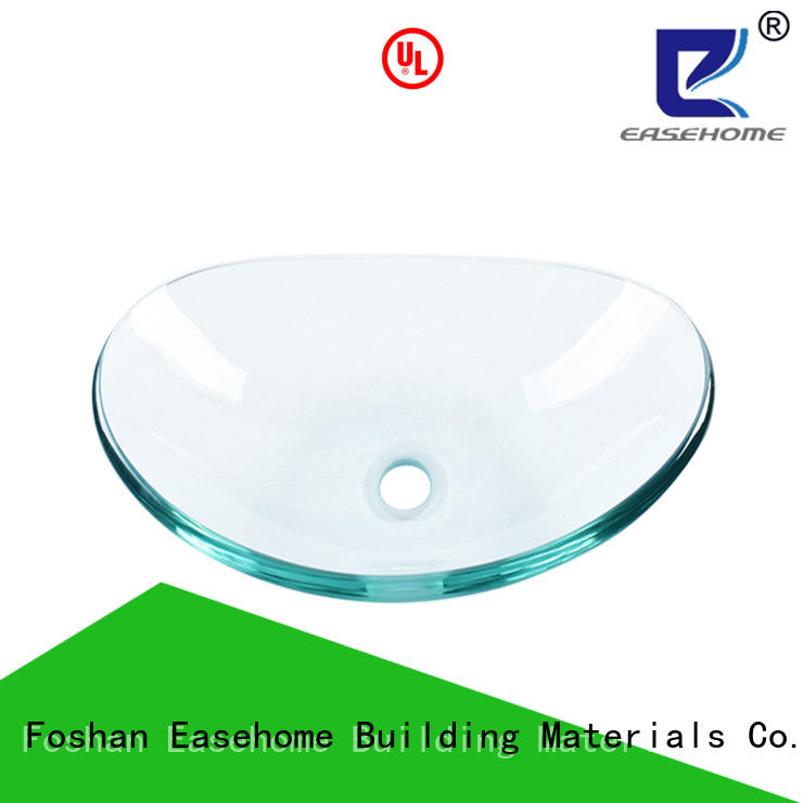 Easehome rectangular tempered glass vessel sink trendy design apartments