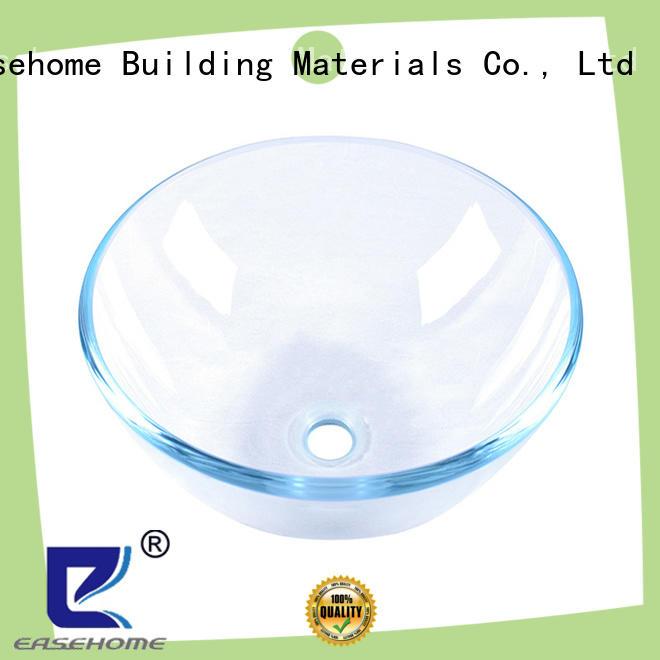 bronze color round glass basin vessel sink transparent bathroom Easehome