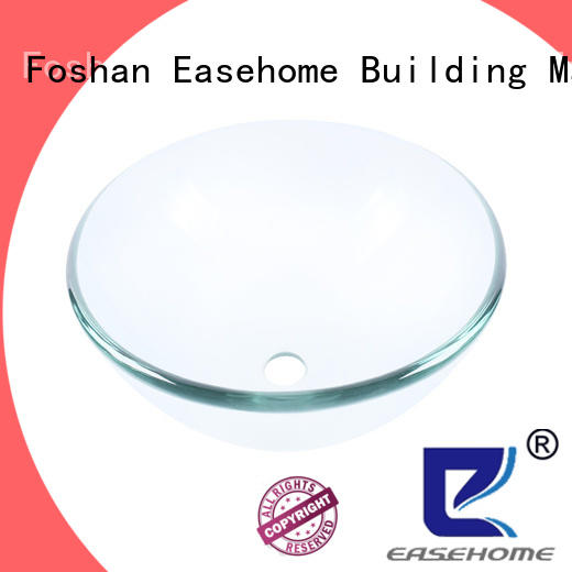 Easehome lotus shaped tempered glass vessel sink best price bathroom