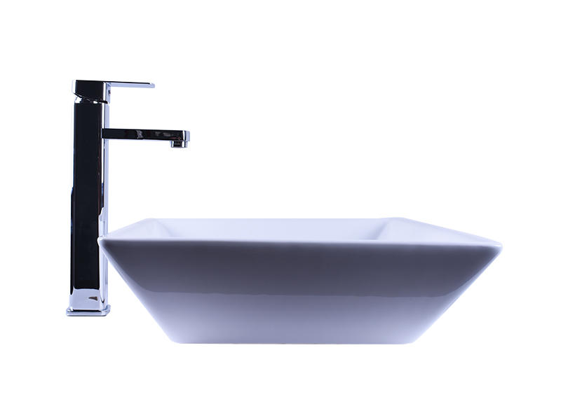 Above Counter Bathroom White Porcelain Vessel Sink Art Basin With Chrome Faucet-3