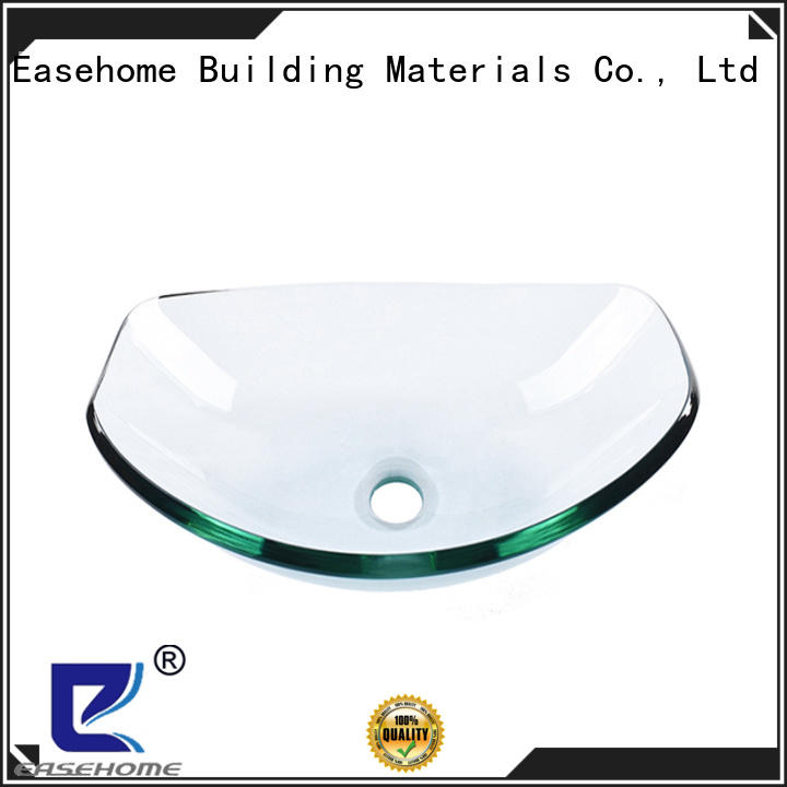 Easehome colorful red glass vessel sink customization bathroom
