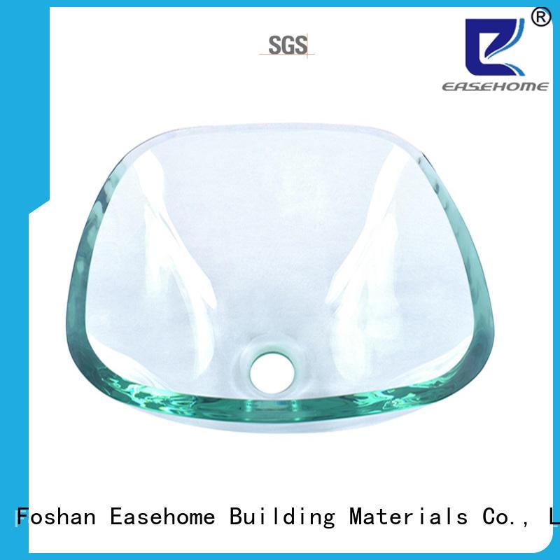 Easehome square shape tempered glass vessel sink best price washroom