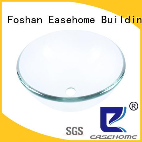 Easehome lotus shaped glass bowl sink oval shaped washroom