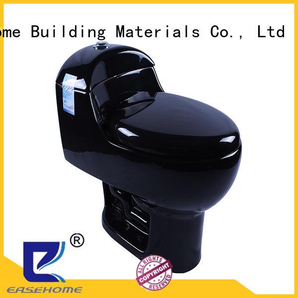 Black Porcelain Siphon Dual Flush Elongated Toilet WC With S-Trap 300 mm