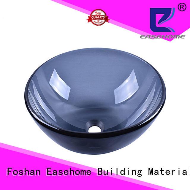 Easehome crystal red glass vessel sink trendy design washroom