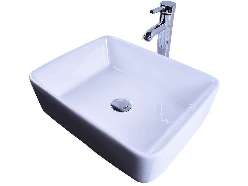 Rectangular White Above Counter Ceramic Vessel Sink 19''X 16''-3