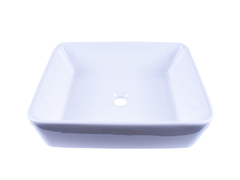 Rectangular White Above Counter Ceramic Vessel Sink 19''X 16''-2