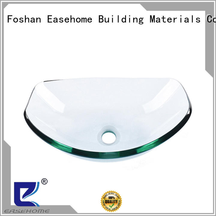 Easehome lotus shaped red glass vessel sink trendy design washroom