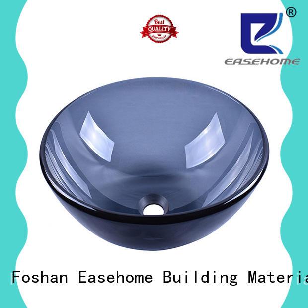 Easehome semitransparent green glass vessel sink trendy design washroom