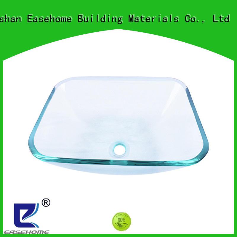 Easehome semitransparent super white glass vessel sink trendy design apartments