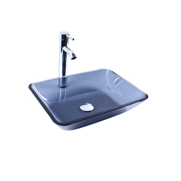 Rectangular Shape Black Semi-Transparent Glass Vessel Sink