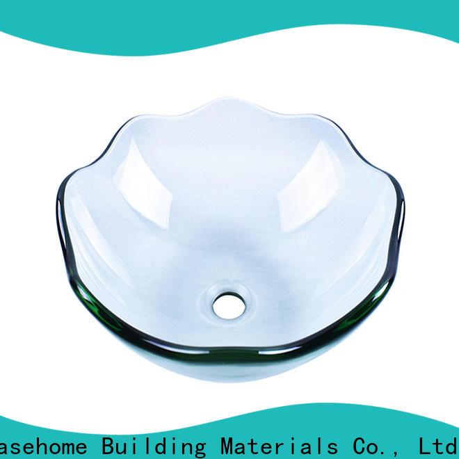 lotus shaped brown glass vessel sink chromed trendy design bathroom
