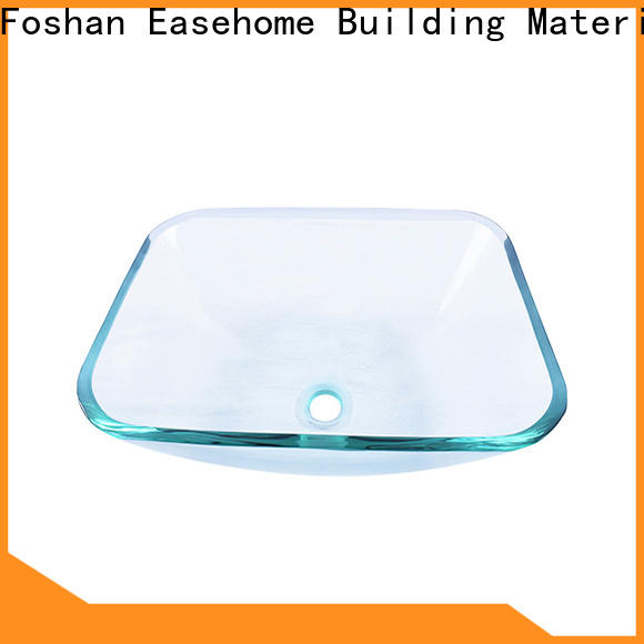 colorful double layer glass vessel sink rectangular trendy design apartments